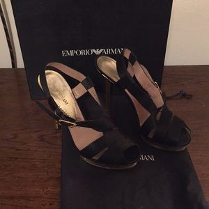 Emporia Armani black satin heels with gold heel